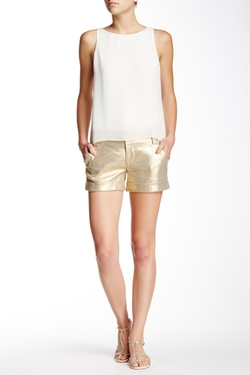 Alice + Olivia - Cady Linen Blend Cuff Shorts