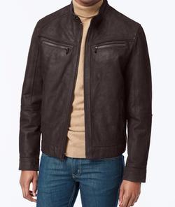 Michael Kors - Washed Nubuck Leather Moto Jacket
