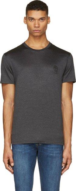 Alexander McQueen - Charcoal Grey Skull Insignia T-Shirt