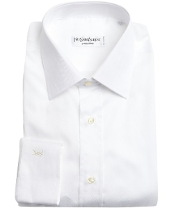 Yves Saint Laurent - Tonal Chevron Cotton Point Collar Dress Shirt