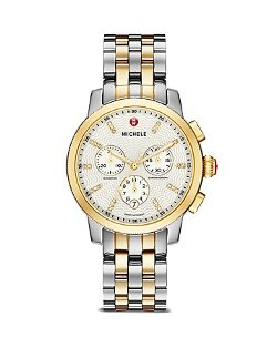 Michele - Uptown Diamond Dial Two Tone Watch
