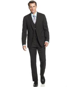 Perry Ellis Suit  - Comfort Stretch Black Stripe Vested Slim Fit