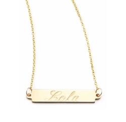 Zoe Chicco  - Personalized Gold Bar-Pendant Necklace