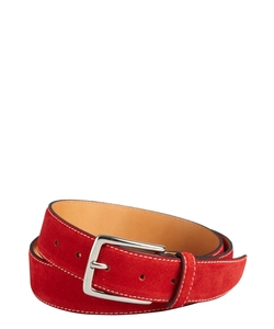 Lago Doro - Red Velour Suede Single Prong Belt