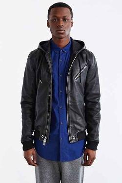 Your Neighbors  - Hooded Leather Bomber Jacket