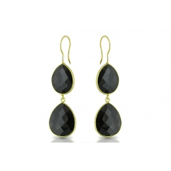 Ice - Onyx Sterling Silver Earrings