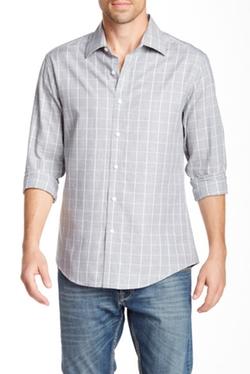 Vince Camuto  - Windowpane Long Sleeve Slim Fit Shirt