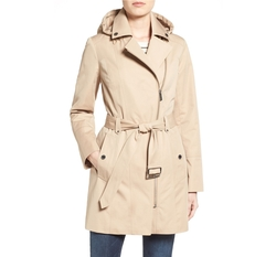 Michael Michael Kors - Asymmetrical Zip Front Hooded Trench Coat