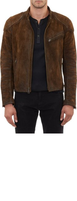 Ralph Lauren Black Label  - Burnished Suede Café Racer Jacket