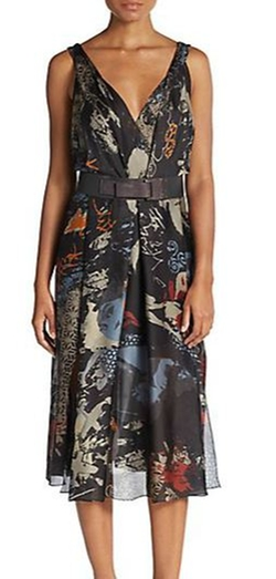 Donna Karan  - Belted Printed Silk Dress