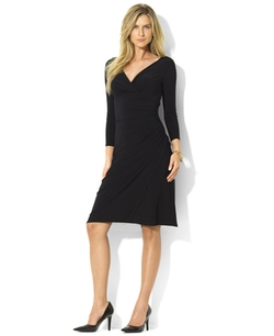 Lauren Ralph Lauren  - Long-Sleeve Faux-Wrap Sheath Dress