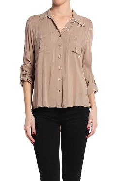 The Mogan - Stand Collar Button Front Roll Up Blouse Top