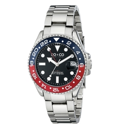 SO&CO New York - Blue and Red Bezel Watch