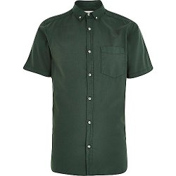 River Island - Washed Short Sleeve Oxford Shirt