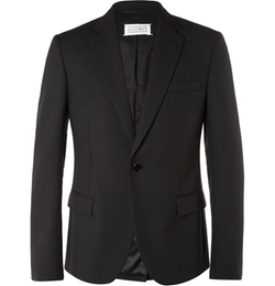 Maison Margiela   - Black Slim-Fit Wool And Mohair-Blend Blazer
