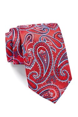 Isaac Mizrahi  - Red Navy Paisley Silk Tie