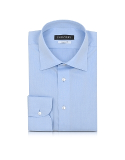 Forzieri - Blue Non Iron Cotton Dress Shirt