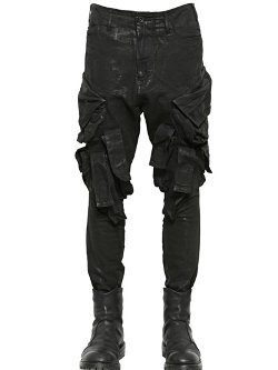 Julius  - Coated Cotton Denim Cargo Pants