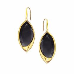 Lana  - 14k Jet Black Marquise Earrings