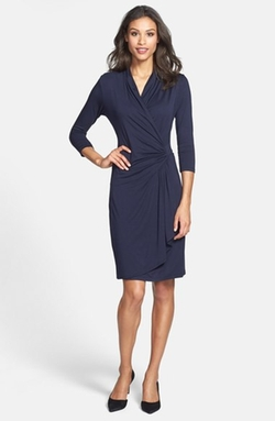 Karen Kane  - Three-Quarter Sleeve Cascade Faux Wrap Dress