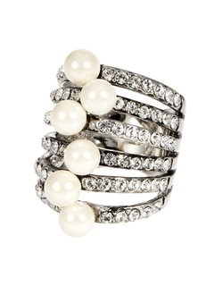 Michela - Rhinestone And Faux Pearl Ring