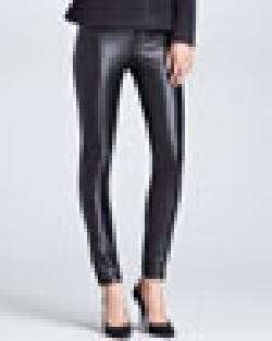 Karolina Zmarlak  - Leather-Front Pants, Black