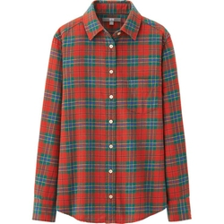 Uniqlo - Women Flannel Check Long Sleeve Shirt