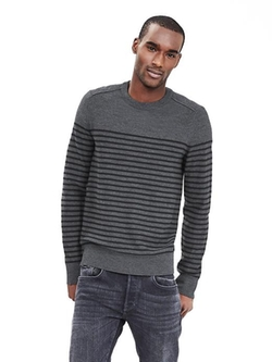 Banana Republic - Striped Merino Wool Crew Sweater