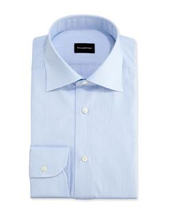 Ermenegildo Zegna  - Micro-Stripe Textured Dress Shirt