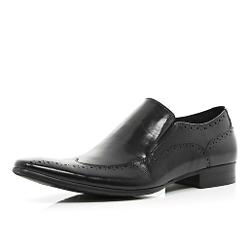 River Island - Black Premium Slip On Wingtip Brogues