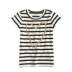 J.Crew - Gold Heart Striped T-Shirt