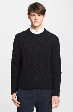 Rag & Bone - Trevor Cable Knit Crewneck Merino Wool Sweater
