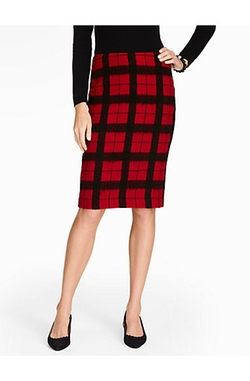 Talbots - Windowpane Plaid Pencil Skirt