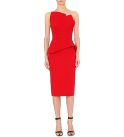 Roland Mouret  - Abuta One Shoulder Peplum Satin Dress