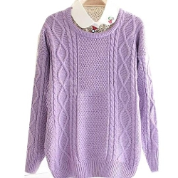Finejo - Knitted Pullover Jumper Loose Sweater