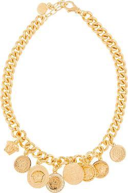 Versace  - Gold Emblem Charm Necklace