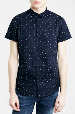 Topman  - Daisy Print Short Sleeve Shirt