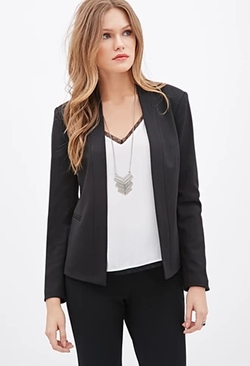 Forever 21 - Contemporary Collarless Woven Blazer