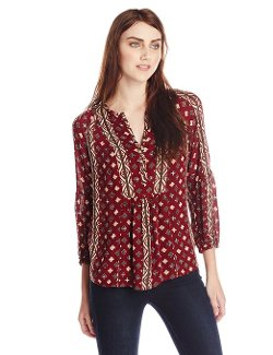 Lucky Brand  - Shiloh Printed Peasant Top