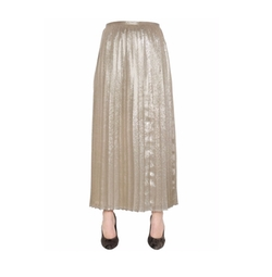 Max Mara   - Pleated Silk Blend Georgette Lamé Skirt