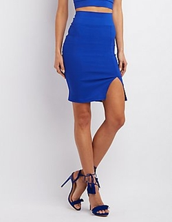 Charlotte Russe - Side Slit Bodycon Skirt