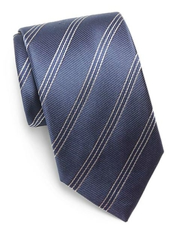 Yves Saint Laurent  - Navy Double-Stripe Silk Tie