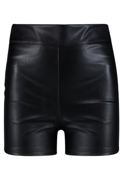 Boohoo - Hayley High Waisted Leather Look Shorts