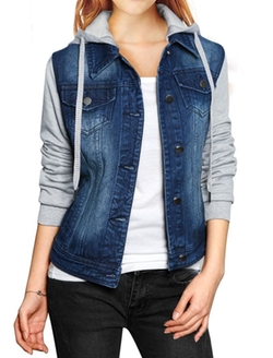 Allegra K - Layered Hooded Denim Jacket