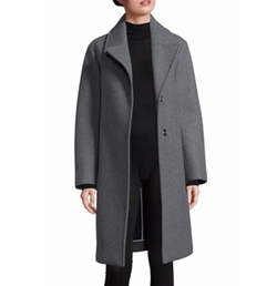 DKNY - Snap-Button Front Wool-Blend Overcoat