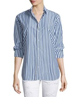Rag & Bone/Jean  - Button Front Striped Boyfriend Shirt