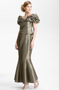 Daymor  - Ruffle Metallic Taffeta Gown