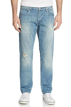 Hudson  - Distressed Slim-Straight Jeans