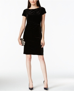 Ellen Tracy - Velvet Twist-Knot Sheath Dress