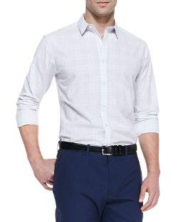 Theory  - Windowpane Button-Down Shirt
